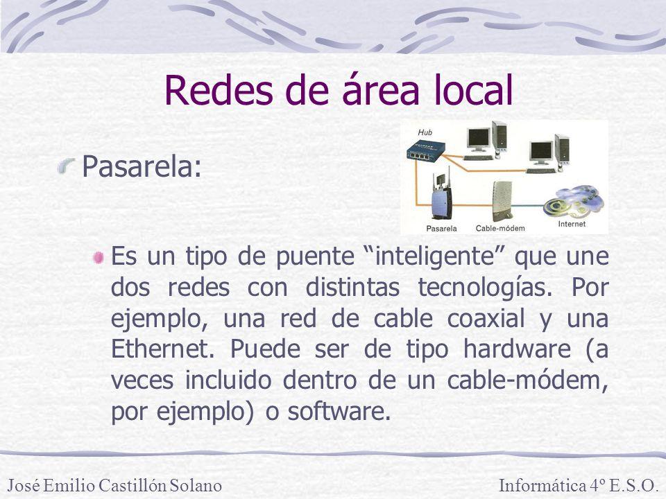 Redes de área local Pasarela: Es un tipo de puente inteligente que une dos redes con distintas tecnologías.