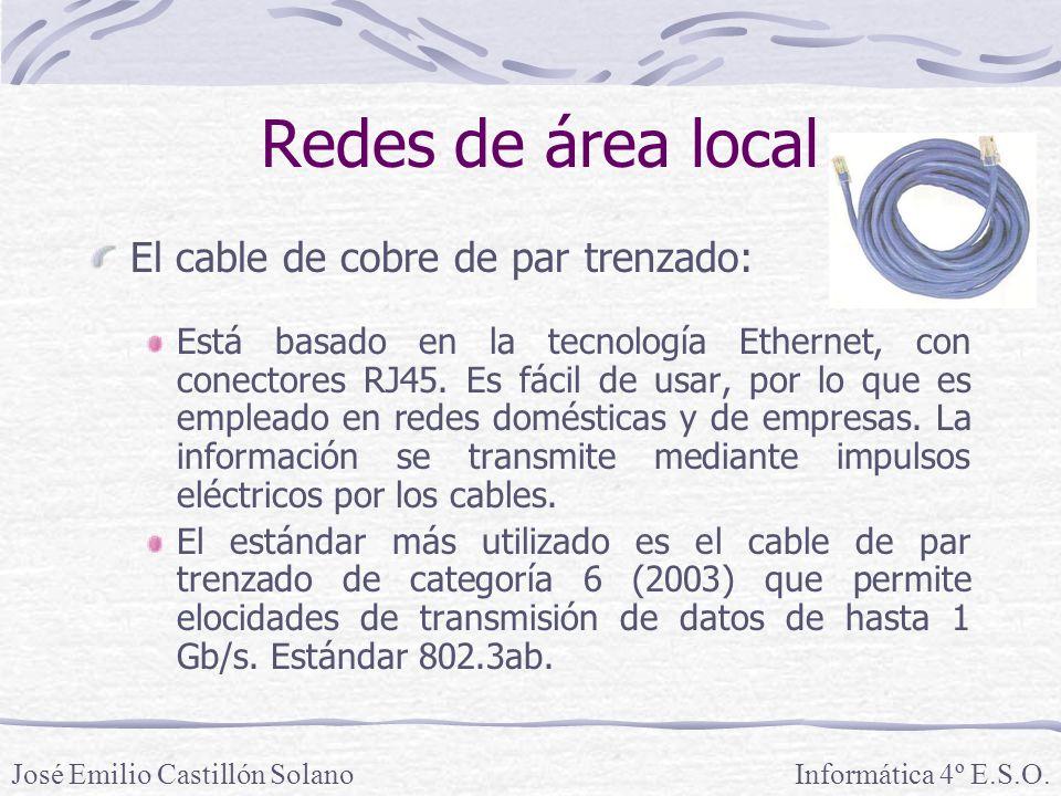 Redes de área local El cable de cobre de par trenzado: Está basado en la tecnología Ethernet, con conectores RJ45.