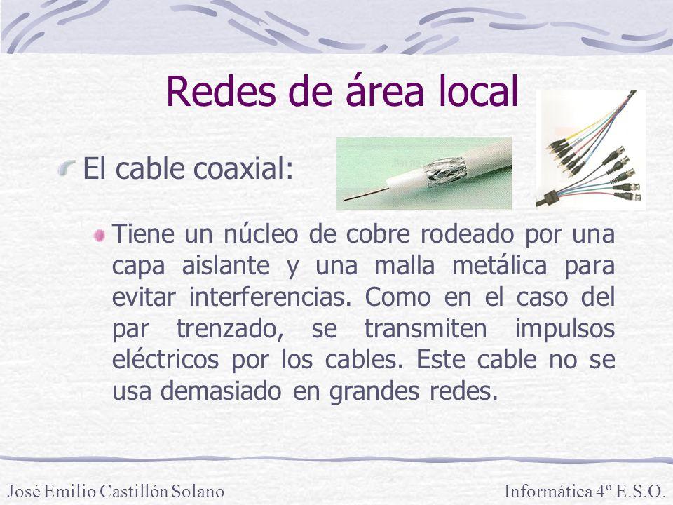 Redes de área local El cable coaxial: Tiene un núcleo de cobre rodeado por una capa aislante y una malla metálica para evitar interferencias.