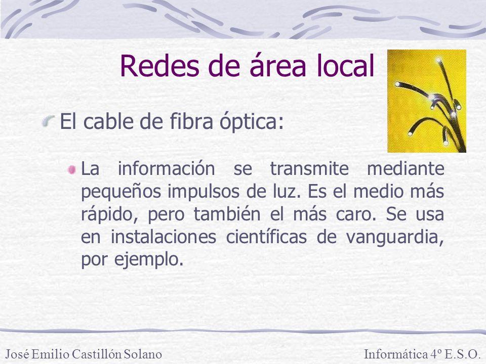 Redes de área local El cable de fibra óptica: La información se transmite mediante pequeños impulsos de luz.