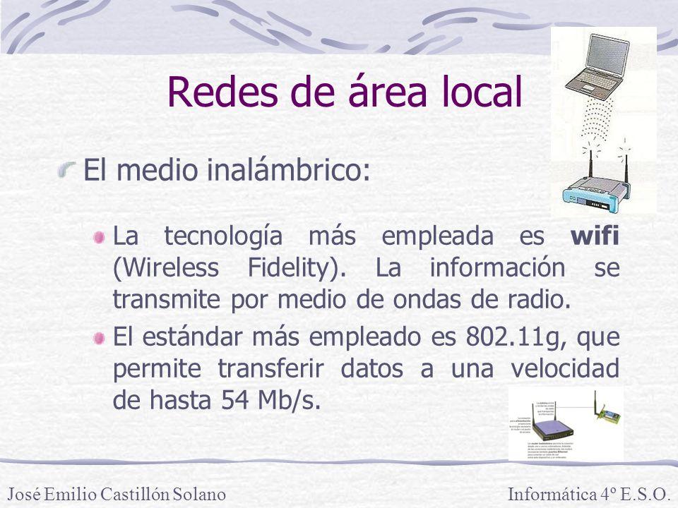 Redes de área local El medio inalámbrico: La tecnología más empleada es wifi (Wireless Fidelity).