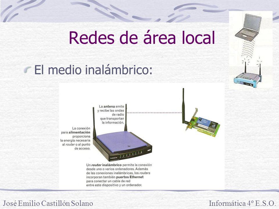 Redes de área local El medio inalámbrico: Informática 4º E.S.O.José Emilio Castillón Solano