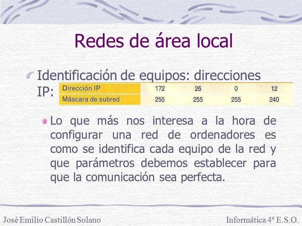 Redes de área local Identificación de equipos: direcciones IP: Lo que más nos interesa a la hora de configurar una red de ordenadores es como se identifica cada equipo de la red y que parámetros debemos establecer para que la comunicación sea perfecta.