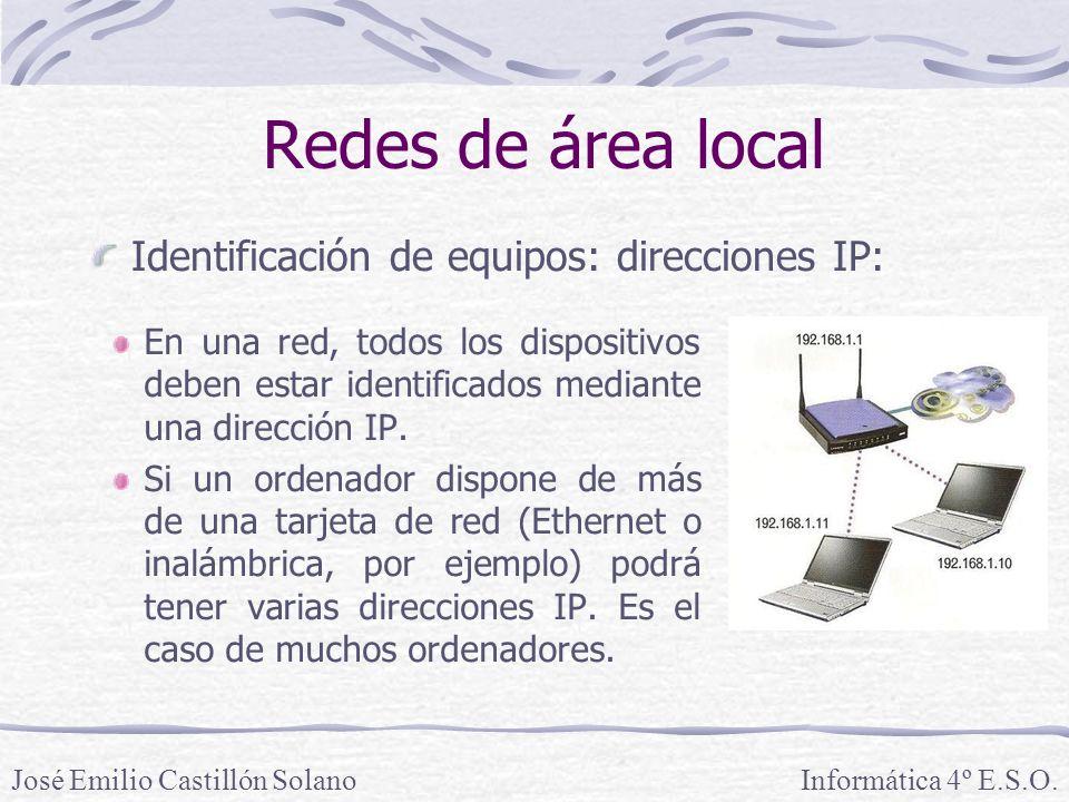 Redes de área local En una red, todos los dispositivos deben estar identificados mediante una dirección IP.