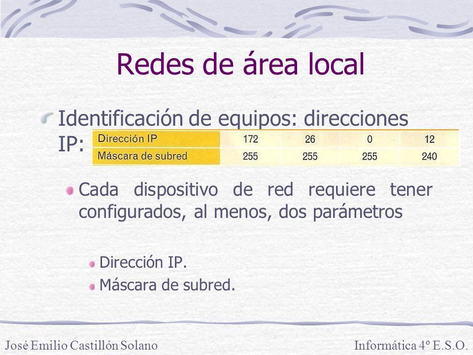 Redes de área local Identificación de equipos: direcciones IP: Cada dispositivo de red requiere tener configurados, al menos, dos parámetros Dirección IP.