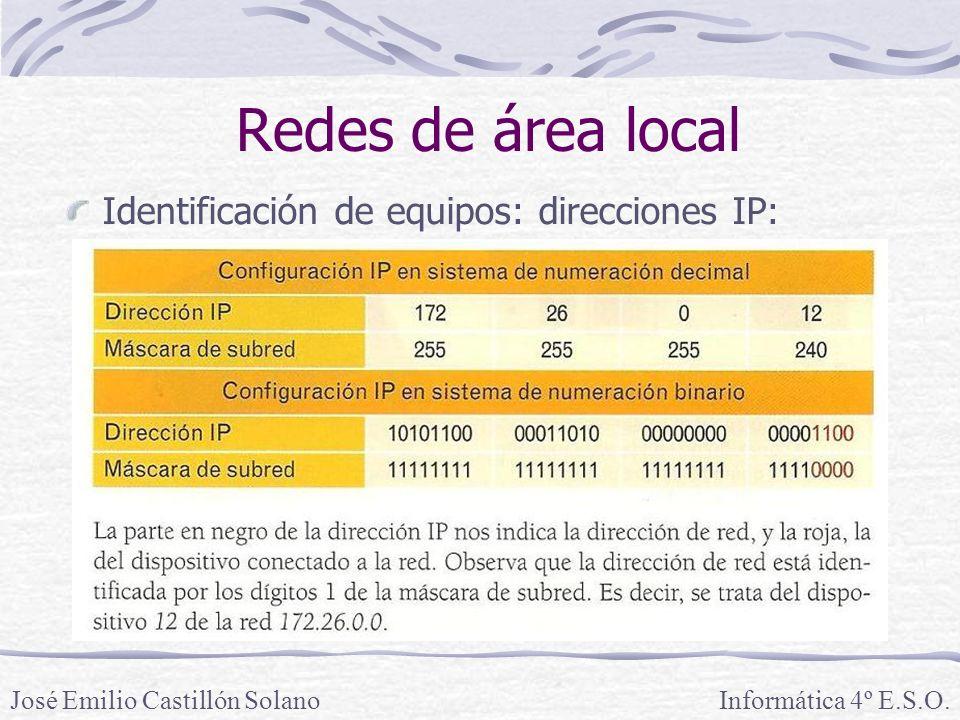 Redes de área local Identificación de equipos: direcciones IP: Informática 4º E.S.O.José Emilio Castillón Solano
