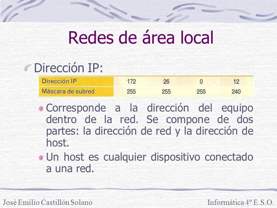Redes de área local Dirección IP: Corresponde a la dirección del equipo dentro de la red.