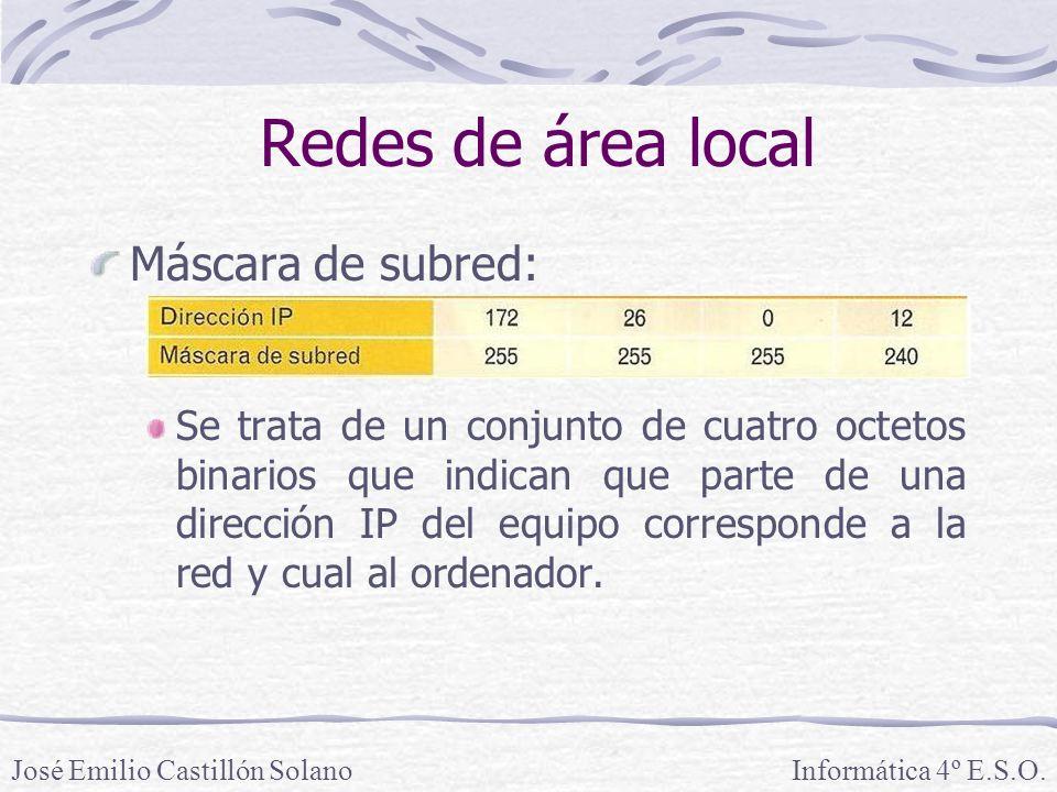 Redes de área local Máscara de subred: Se trata de un conjunto de cuatro octetos binarios que indican que parte de una dirección IP del equipo corresponde a la red y cual al ordenador.