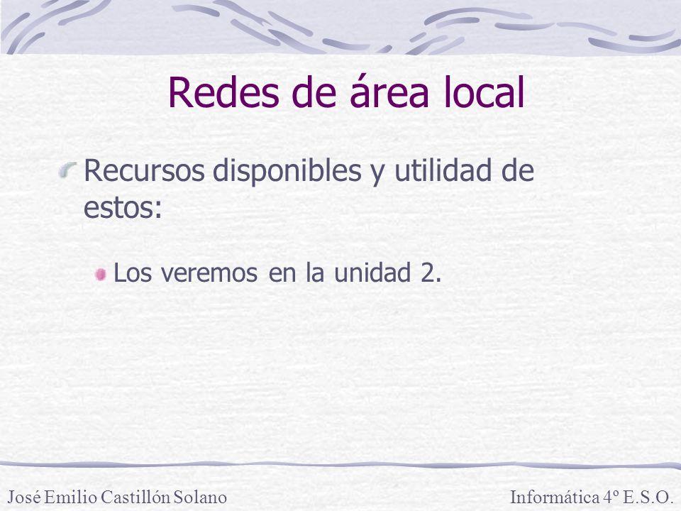 Redes de área local Recursos disponibles y utilidad de estos: Los veremos en la unidad 2.