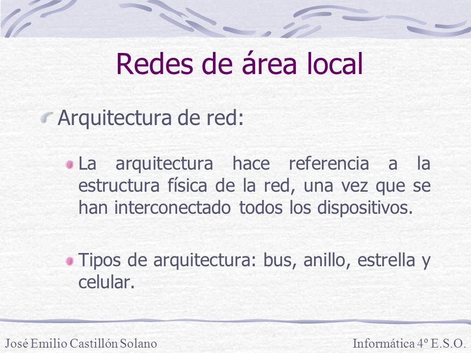 Redes de área local Arquitectura de red: La arquitectura hace referencia a la estructura física de la red, una vez que se han interconectado todos los dispositivos.
