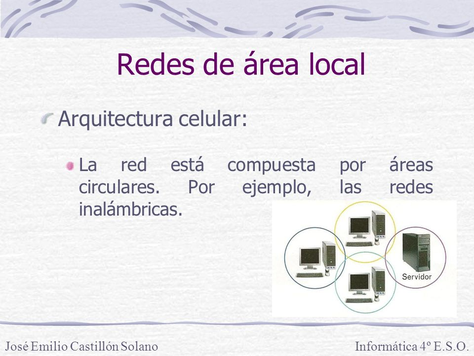 Redes de área local Arquitectura celular: La red está compuesta por áreas circulares.