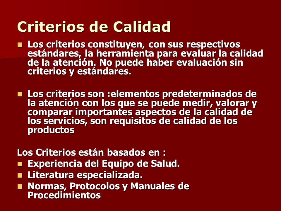 Criterios de Calidad Los criterios constituyen, con sus respectivos estándares, la herramienta para evaluar la calidad de la atención. No puede haber