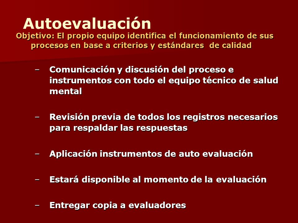 Objetivo: El propio equipo identifica el funcionamiento de sus procesos en base a criterios y estándares de calidad –Comunicación y discusión del proc