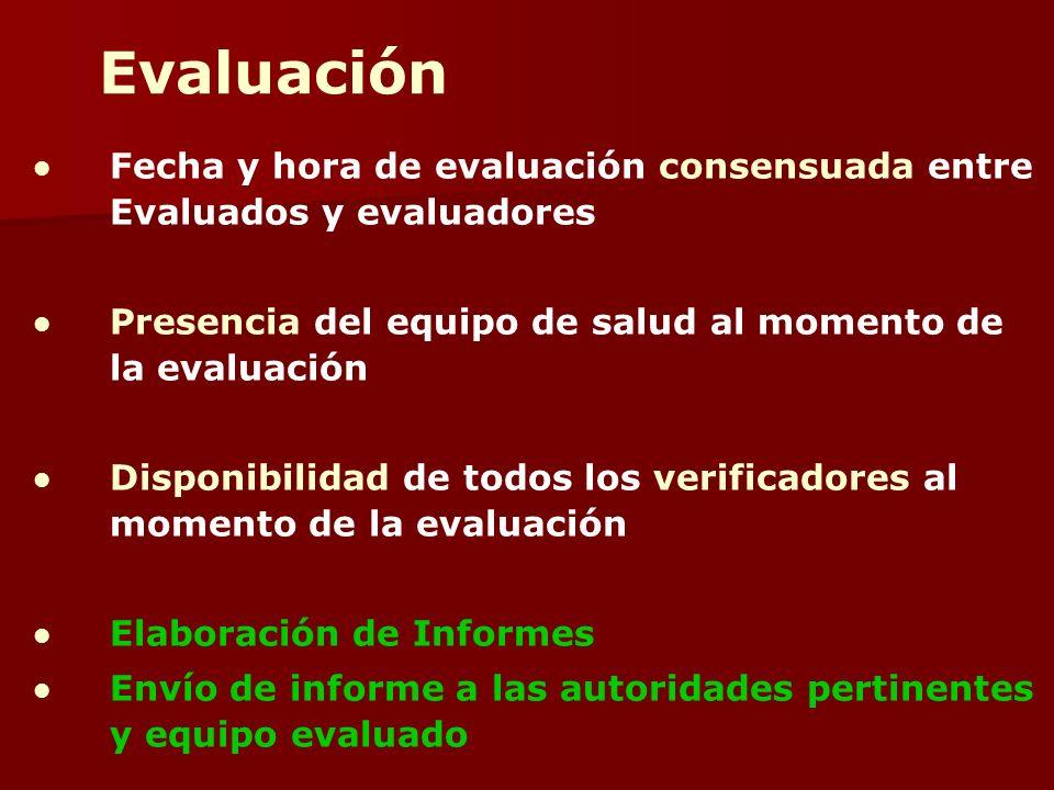 Fecha y hora de evaluación consensuada entre Evaluados y evaluadores Presencia del equipo de salud al momento de la evaluación Disponibilidad de todos