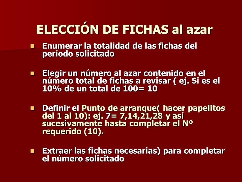 ELECCIÓN DE FICHAS al azar Enumerar la totalidad de las fichas del período solicitado Enumerar la totalidad de las fichas del período solicitado Elegi