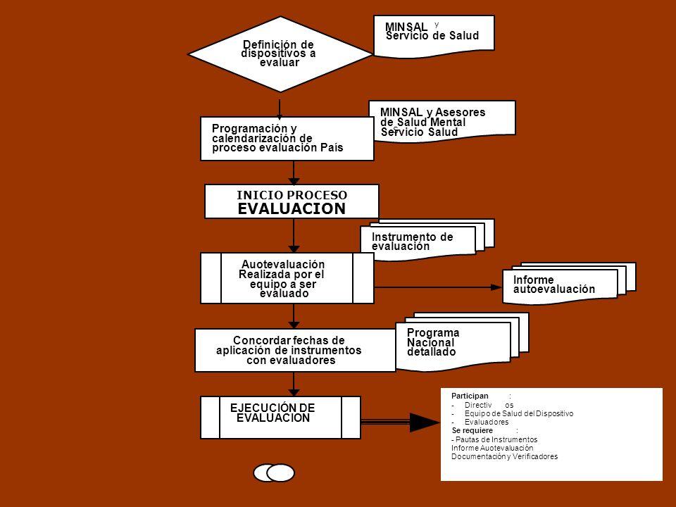 Instrumento de evaluación MINSAL y Asesores de Salud Mental Servicio Salud S, MINSAL y Servicio de Salud Programación y calendarización de proceso eva