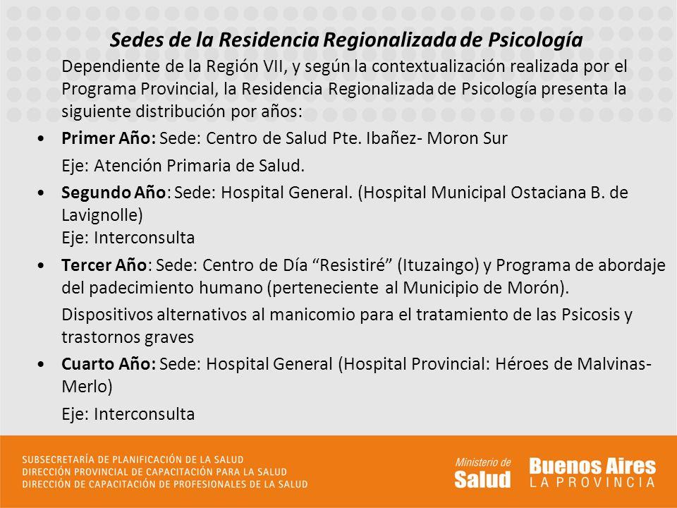 Sedes de la Residencia Regionalizada de Psicología Dependiente de la Región VII, y según la contextualización realizada por el Programa Provincial, la