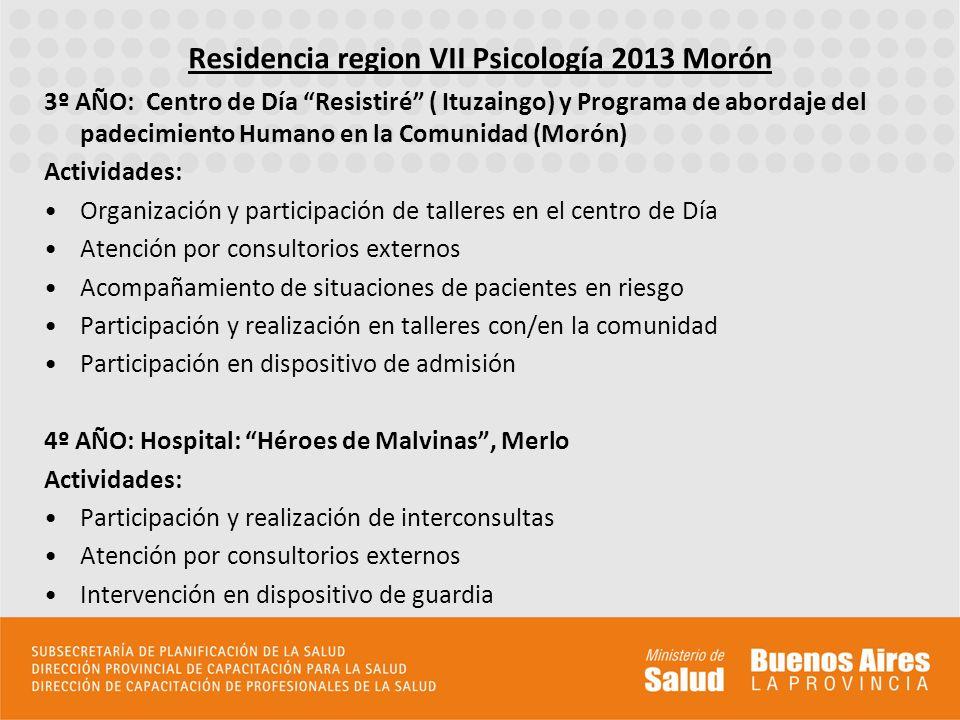 3º AÑO: Centro de Día Resistiré ( Ituzaingo) y Programa de abordaje del padecimiento Humano en la Comunidad (Morón) Actividades: Organización y partic