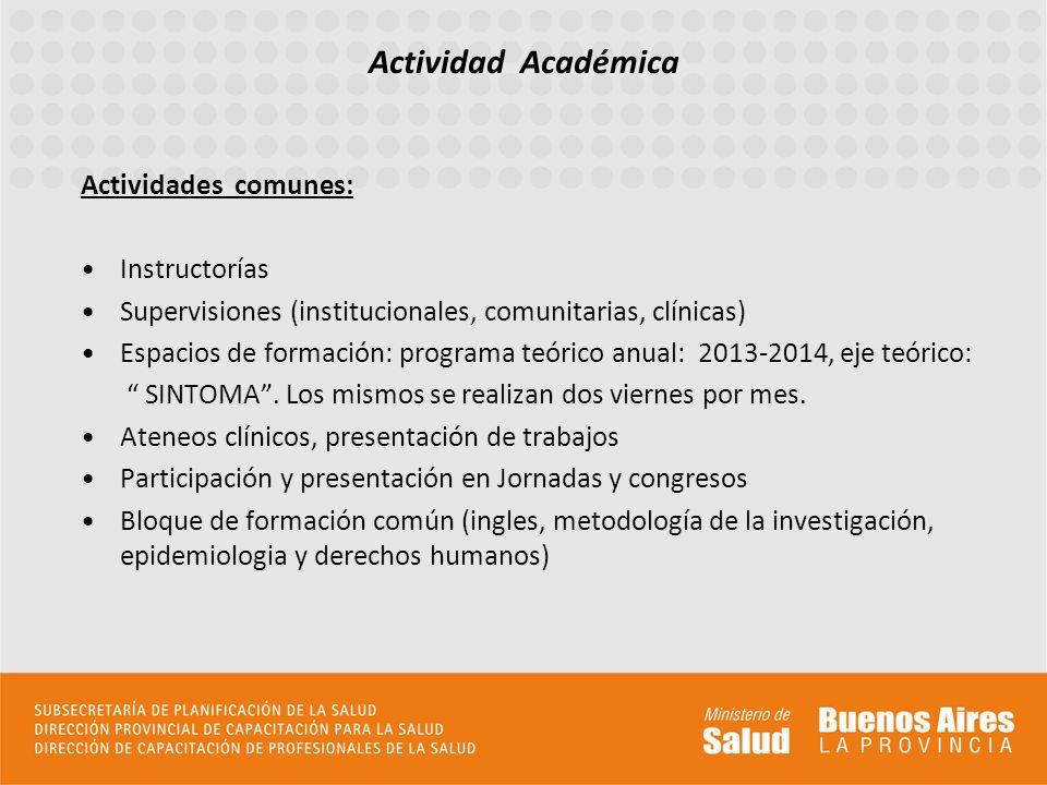 Actividades comunes: Instructorías Supervisiones (institucionales, comunitarias, clínicas) Espacios de formación: programa teórico anual: 2013-2014, e