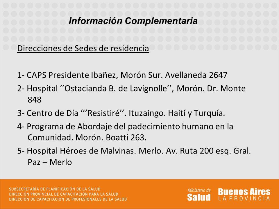 Direcciones de Sedes de residencia 1- CAPS Presidente Ibañez, Morón Sur. Avellaneda 2647 2- Hospital Ostacianda B. de Lavignolle, Morón. Dr. Monte 848