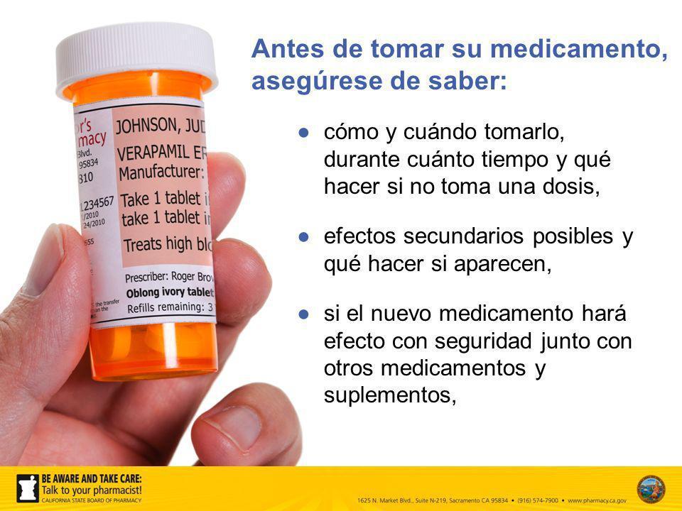 cómo y cuándo tomarlo, durante cuánto tiempo y qué hacer si no toma una dosis, efectos secundarios posibles y qué hacer si aparecen, si el nuevo medic