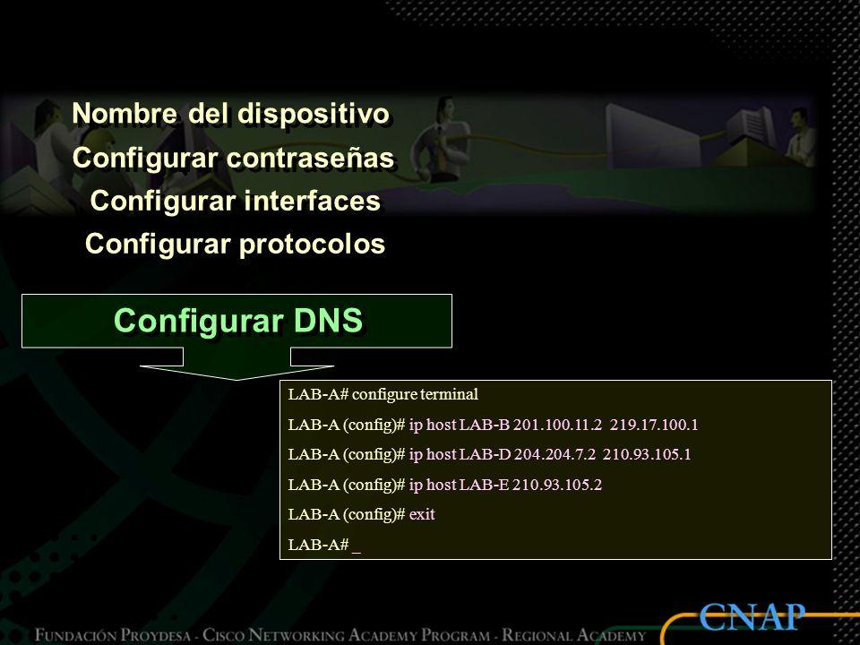 Nombre del dispositivo Configurar contraseñas Configurar interfaces Configurar protocolos Configurar DNS LAB-A# configure terminal LAB-A (config)# ip