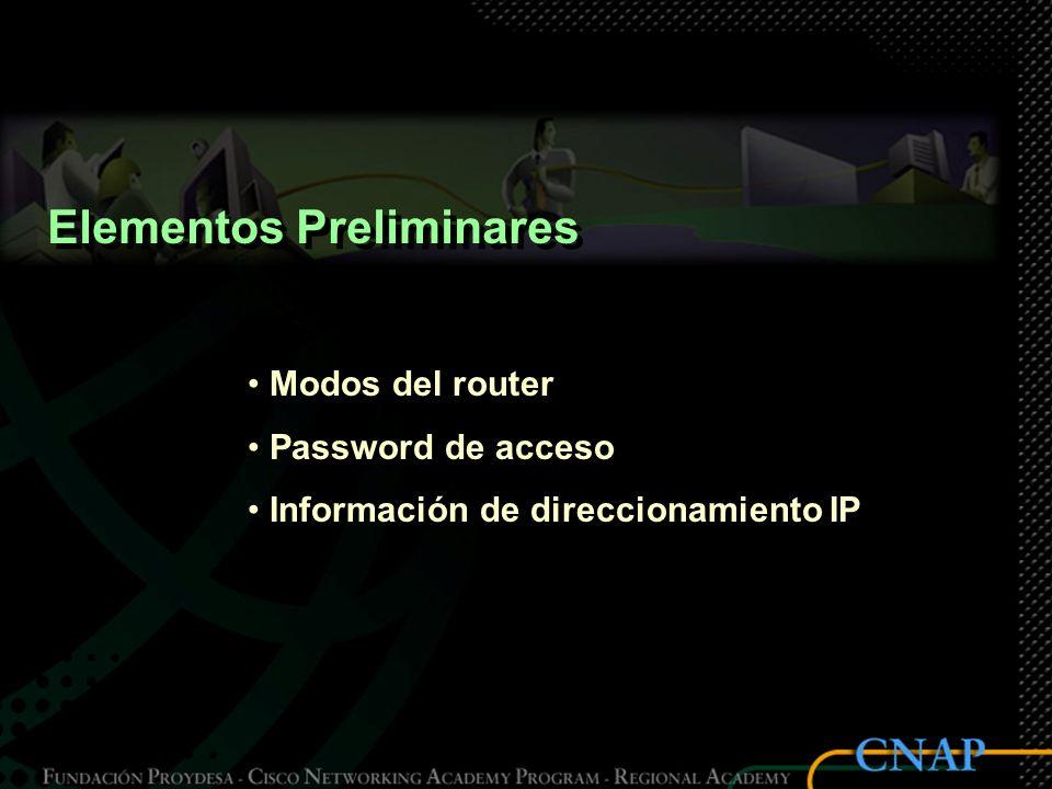 Elementos Preliminares Modos del router Password de acceso Información de direccionamiento IP