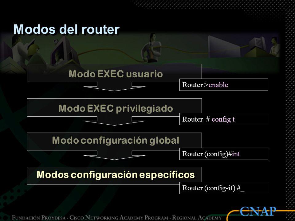 Modos del router Modo EXEC usuario Router >_ Modo EXEC privilegiado Router #_ Modo configuración global Router (config) #_ Modos configuración específ