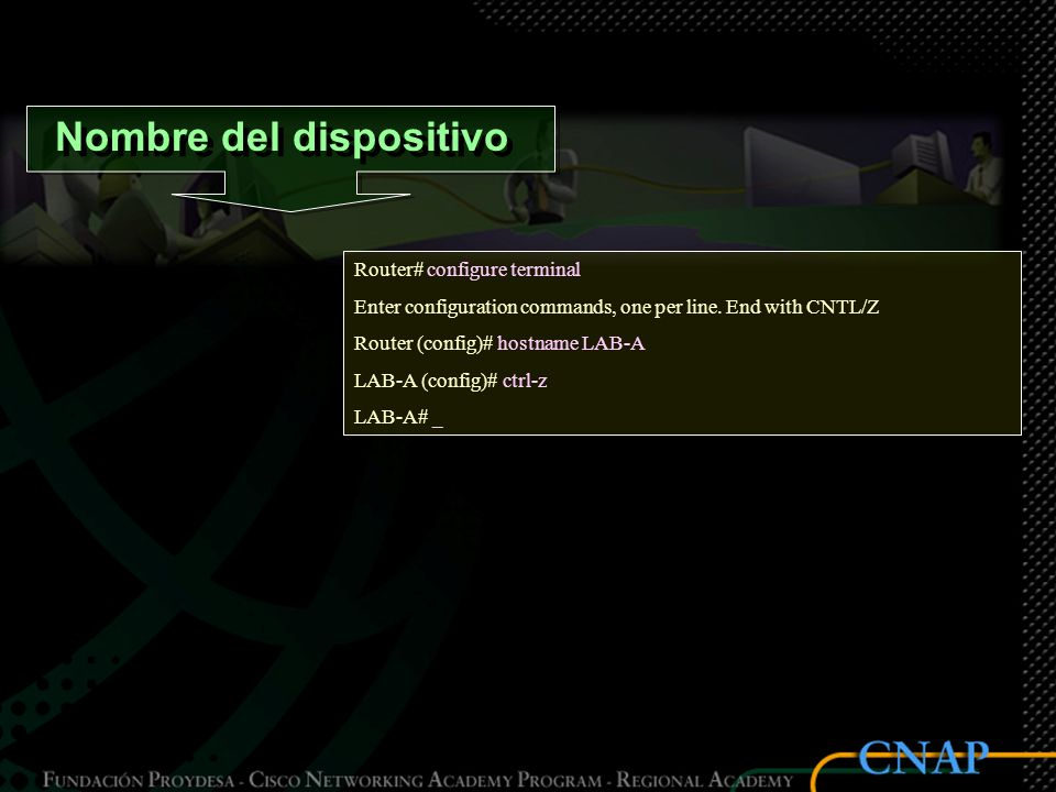Nombre del dispositivo Router# configure terminal Enter configuration commands, one per line.