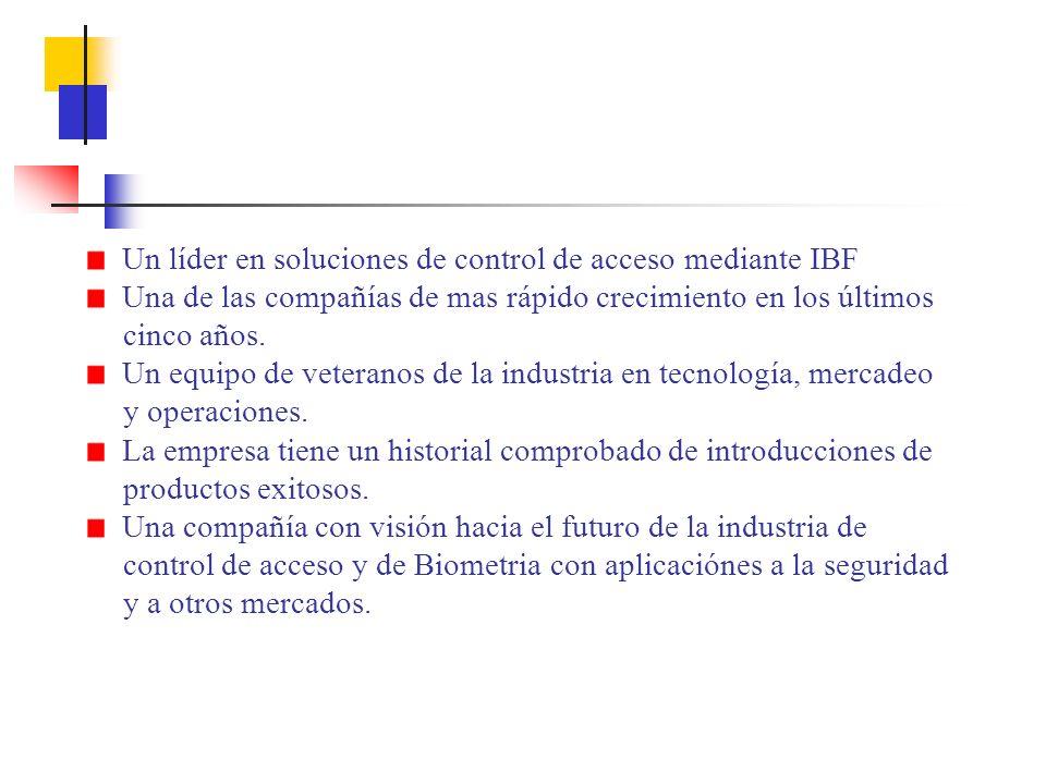 Un líder en soluciones de control de acceso mediante IBF Una de las compañías de mas rápido crecimiento en los últimos cinco años.