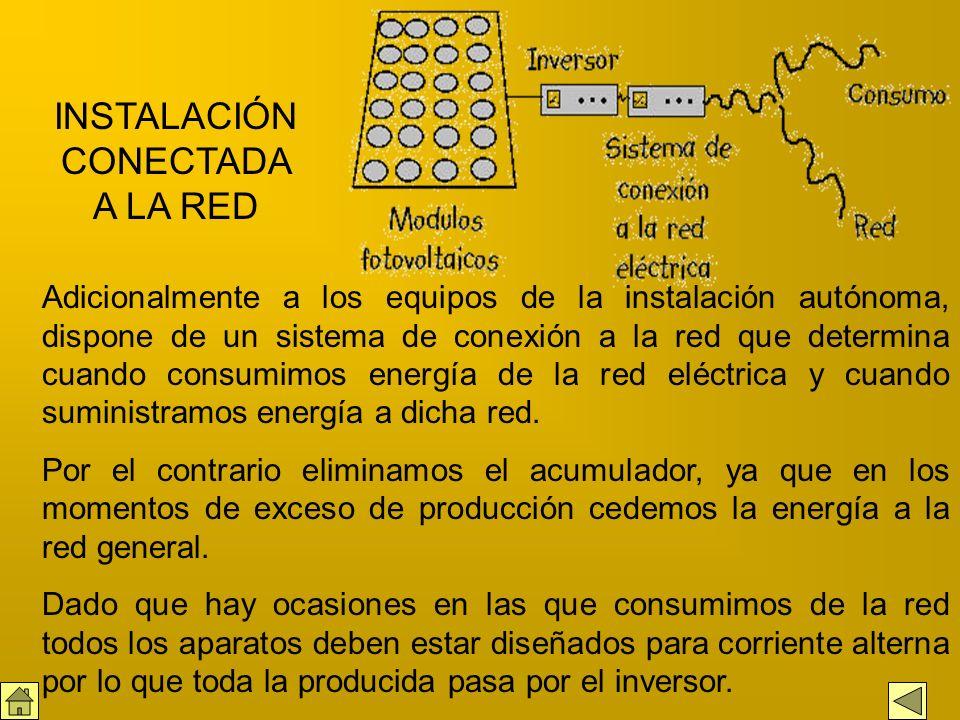 Modulos fotovoltaicos, son los que generan electricidad Regulador, distribuye la energía al acumulador o a los aparatos de consumo Acumulador, almacen