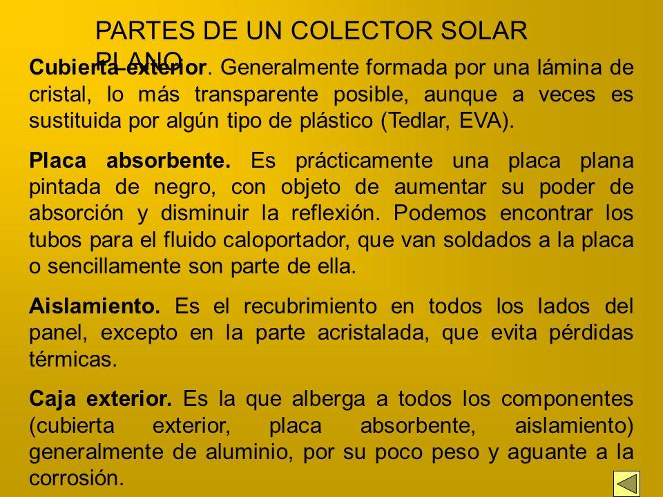 La captación de la energía solar de baja temperatura se realiza a través de colectores planos, cuya características principales son: - No tienen poder
