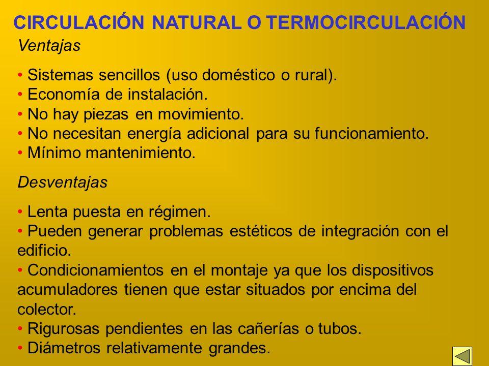 CIRCULACIÓN DEL FLUIDO El fluido caloportador puede desplazarse, dentro del circuito de calentamiento, de dos maneras: Por circulación natural Por cir