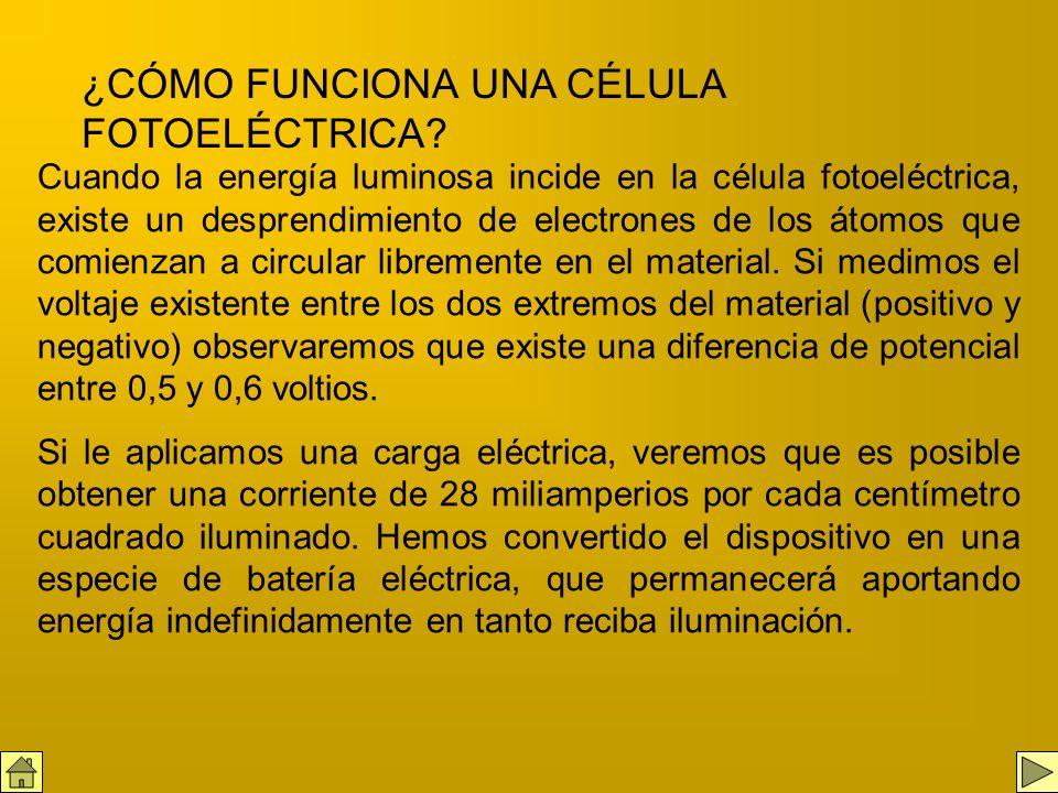 El elemento principal de un sistema de energía fotovoltaica es la célula fotoeléctrica, un dispositivo construido de silicio (extraído de la arena com