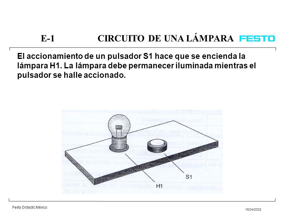 Festo Didactic México 15/04/2002 E-10MARCADO DE PIEZAS Una pieza debe marcarse accionando un pulsador S1, para asegurar que el ciclo de marcado no se pone en marcha inadvertidamente, deberá mantenerse presionado el pulsador durante más de tres segundos.