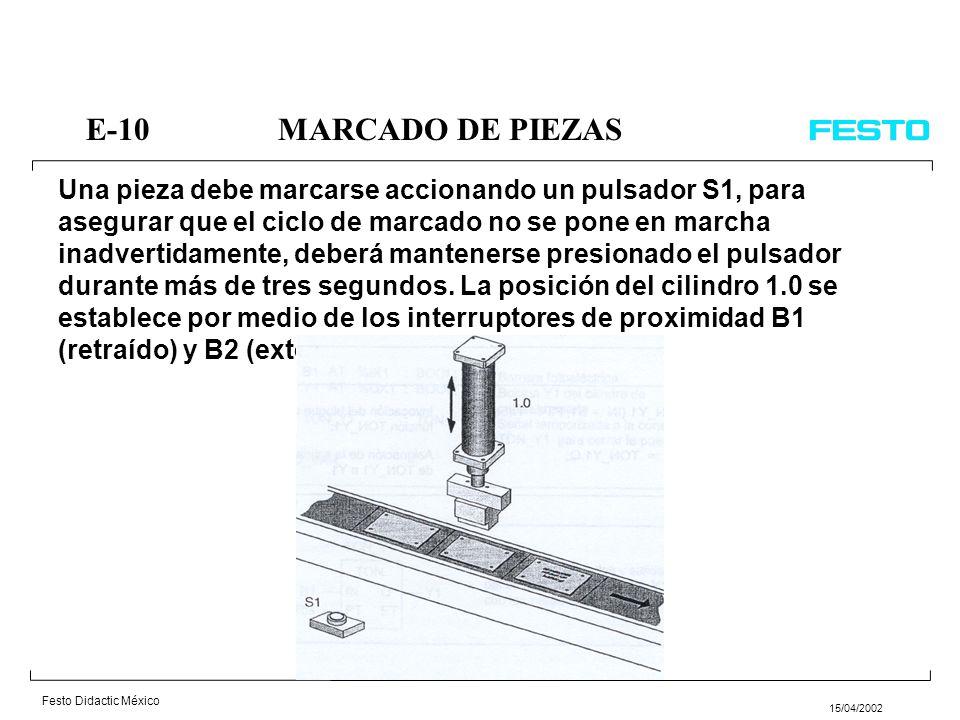 Festo Didactic México 15/04/2002 Dos componentes deben ser encolados con la ayuda de un cilindro neumático 1.0. Para ello las superficies a encolar se