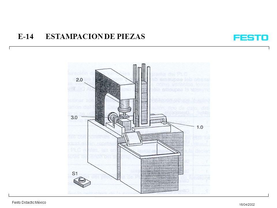Festo Didactic México 15/04/2002 E-14ESTAMPACION DE PIEZAS En una máquina se estampan 10 piezas cada vez; el ciclo del programa se inicia por medio de