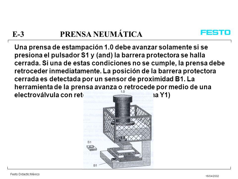 Festo Didactic México 15/04/2002 E-12ELEVADOR DE PAQUETES Un transportador de rodillos es supervisado por un sensor de proximidad B1, para comprobar si hay un paquete presente.