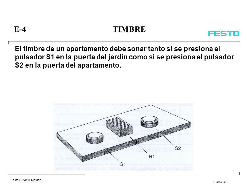Festo Didactic México 15/04/2002 El timbre de un apartamento debe sonar tanto si se presiona el pulsador S1 en la puerta del jardín como si se presiona el pulsador S2 en la puerta del apartamento.