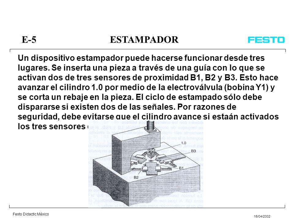 Festo Didactic México 15/04/2002 E-14ESTAMPACION DE PIEZAS En una máquina se estampan 10 piezas cada vez; el ciclo del programa se inicia por medio de un pulsador S1.
