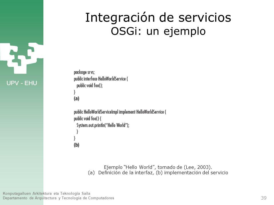 UPV - EHU Konputagailuen Arkitektura eta Teknologia Saila Departamento de Arquitectura y Tecnología de Computadores 39 Integración de servicios OSGi: