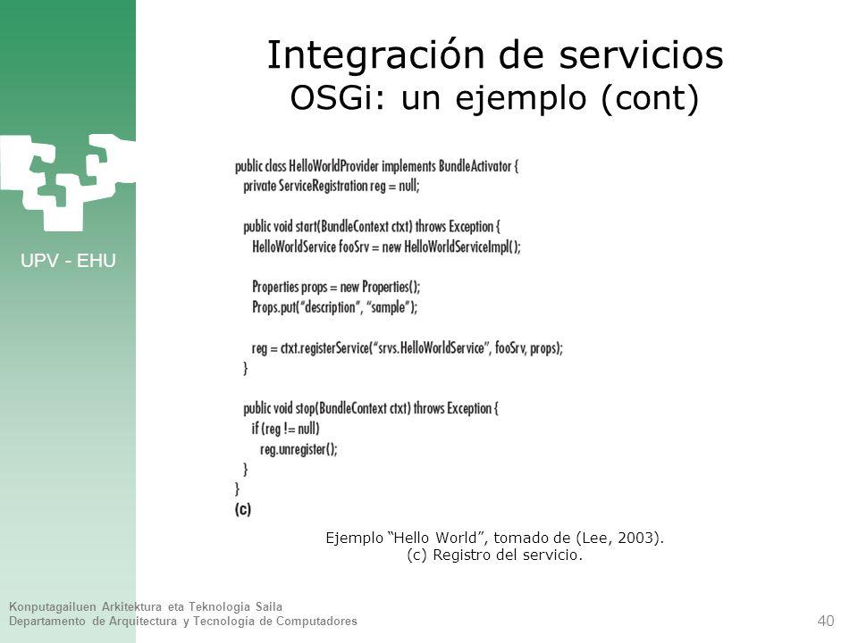 UPV - EHU Konputagailuen Arkitektura eta Teknologia Saila Departamento de Arquitectura y Tecnología de Computadores 40 Integración de servicios OSGi: