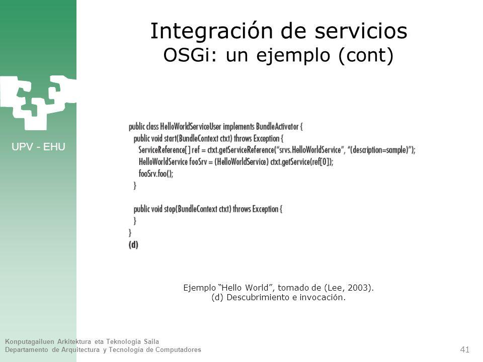 UPV - EHU Konputagailuen Arkitektura eta Teknologia Saila Departamento de Arquitectura y Tecnología de Computadores 41 Integración de servicios OSGi: