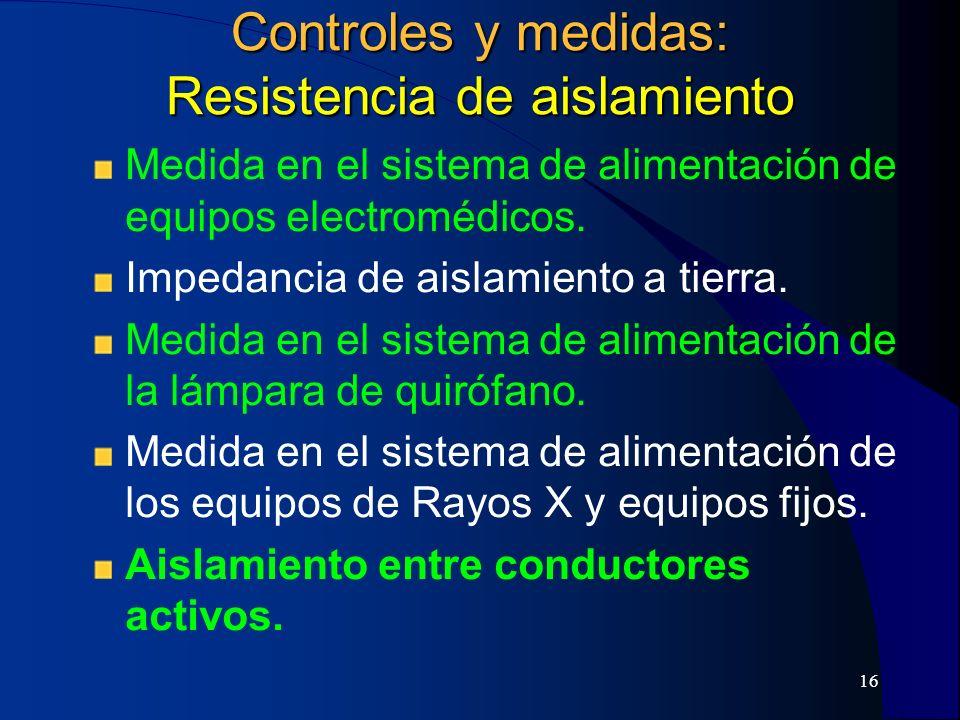 17 Controles y medidas Medida de la resistencia de los conductores de protección y de equipotencialidad.