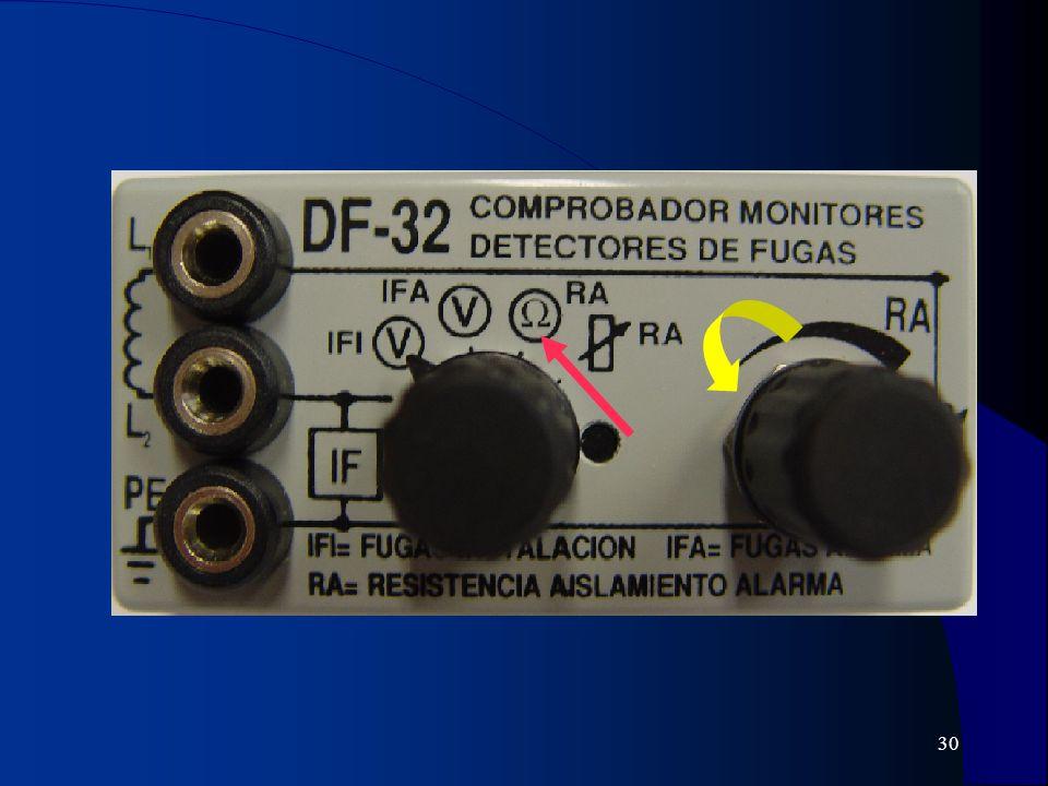 31 MONITOR POR IMPEDANCIA 230 V57,5 kΩ Monitor detector de fugas L1 L2 Tierra Int. general