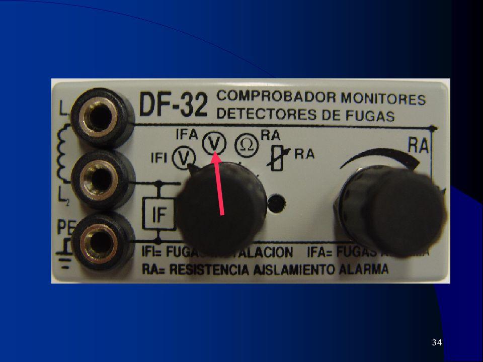 35 6) Pasar el selector del módulo a la posición IFI con lo que en la pantalla del multímetro se mostrará el valor de la corriente de fugas de la instalación (sin el defecto simulado RA).