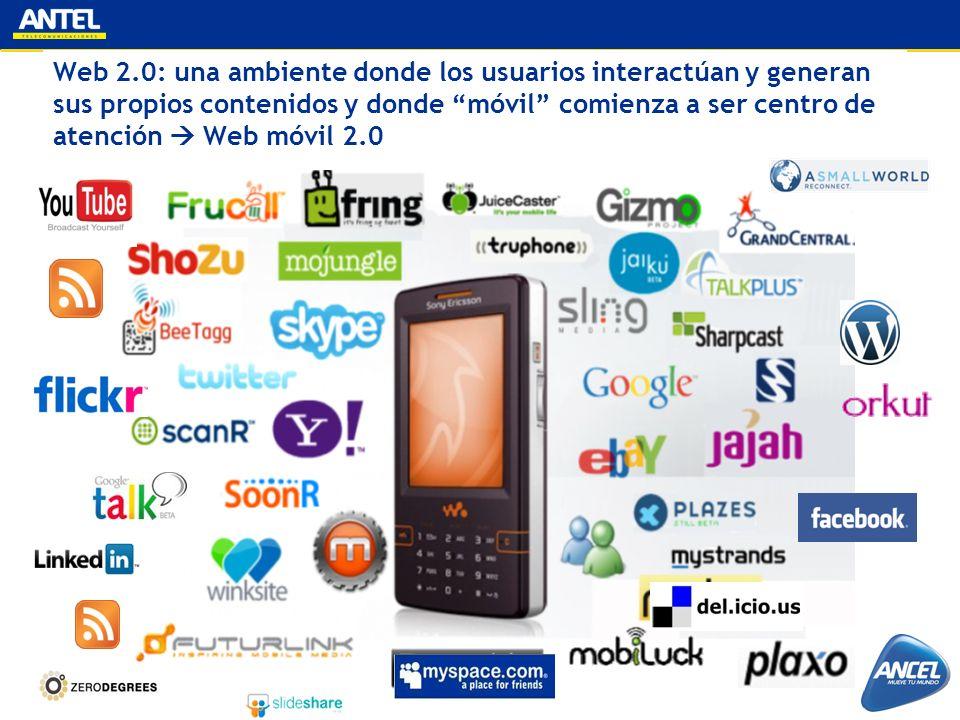 Web 2.0: una ambiente donde los usuarios interactúan y generan sus propios contenidos y donde móvil comienza a ser centro de atención Web móvil 2.0