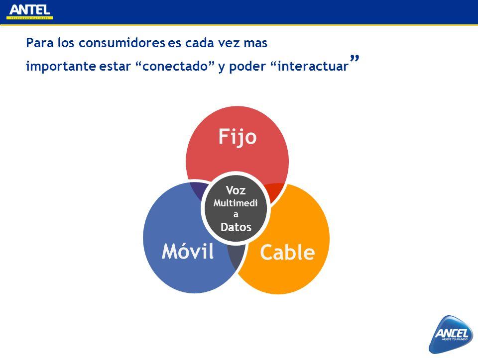 Para los consumidores es cada vez mas importante estar conectado y poder interactuar Cable Fijo Móvil Voz Multimedi a Datos