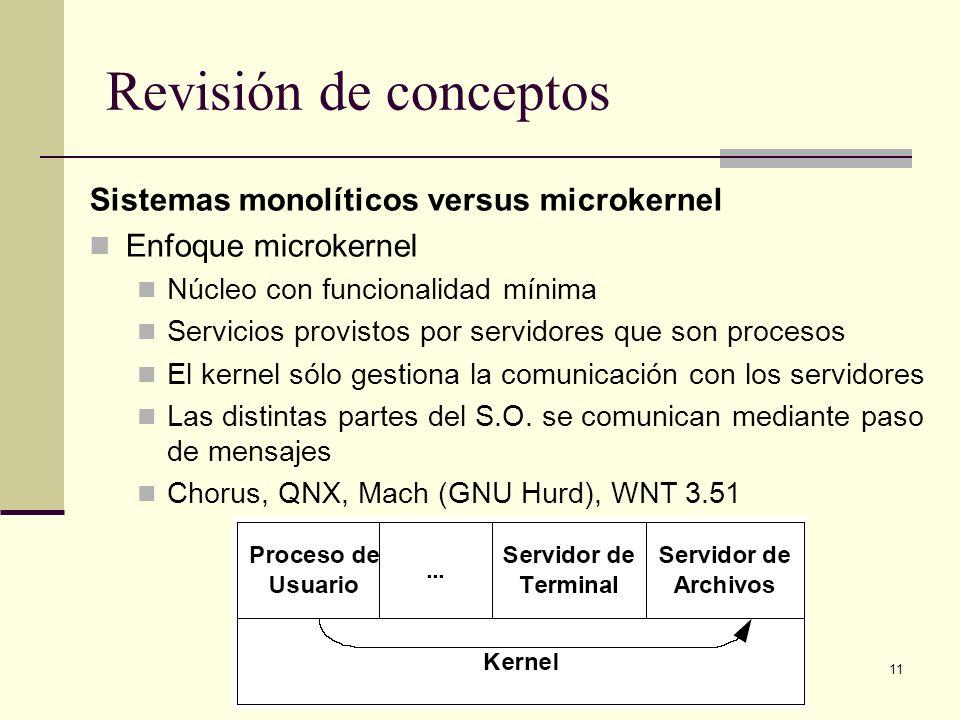 11 Revisión de conceptos Sistemas monolíticos versus microkernel Enfoque microkernel Núcleo con funcionalidad mínima Servicios provistos por servidores que son procesos El kernel sólo gestiona la comunicación con los servidores Las distintas partes del S.O.
