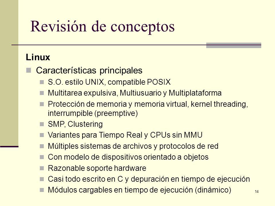 14 Revisión de conceptos Linux Características principales S.O. estilo UNIX, compatible POSIX Multitarea expulsiva, Multiusuario y Multiplataforma Pro